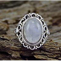 Jaywine2 Women Fashion Jewelry 925 Silver Oval MoonStone Wedding Bridal Ring Size 6-10 (8)