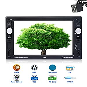 Car Stereo with Bluetooth Double Din 6.2 Inch Touch Screen LCD Radio for Car Support MP3/USB/SD/FM receiver Wireless Remote