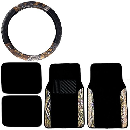 Camo Floor Mats & Steering Wheel Cover Set Surreal Forest Camouflage Water Resistant - Hot & Cold Protection for your Hands & Body
