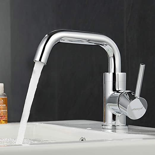 Ubeegol Chrom Wasserhahn Bad Waschbeckenarmatur 360 Drehbar