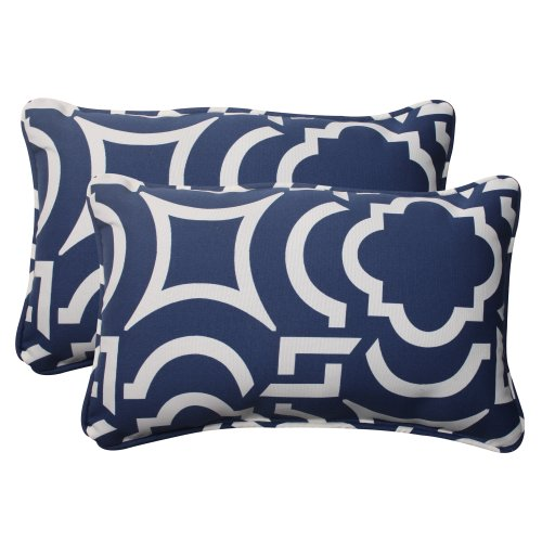 Pillow Perfect Indoor/Outdoor Carmody Corded Rectangular Throw Pillow, Navy, Set of 2