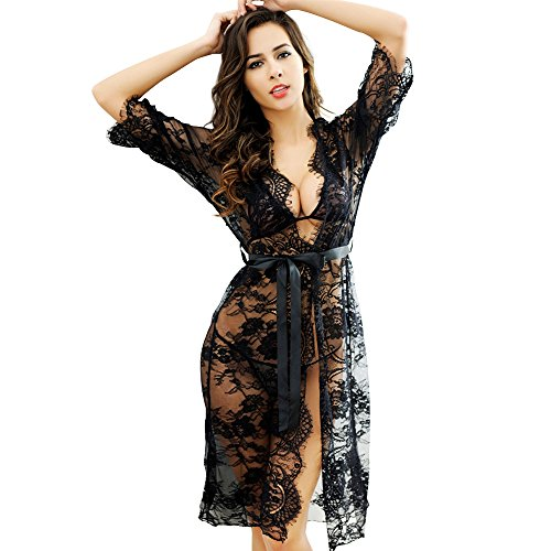 BestTime Sexy Sleepwear Set for Women Lace Long Dress Perspective Nightgown Robe Set of 4 (Black)OS