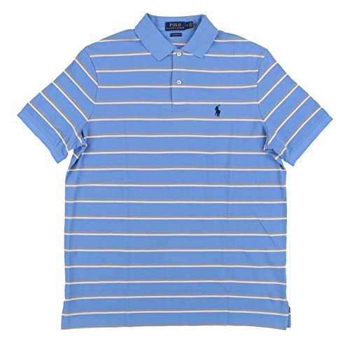 (Polo Ralph Lauren Mens Classic Fit Pony Logo Striped Polo Shirt (M, BlueGry))