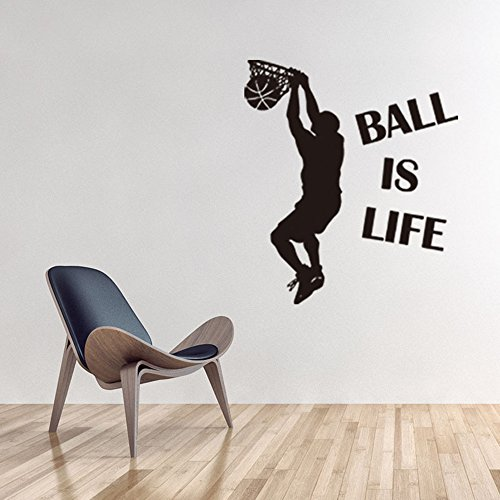 Home Decor Wall Art Printer Removable Wall Sticker Sports Style Basketball Wall Decor Decals For Kids Boys, 30.7 x 34.8 (Basketball Sports Sticker)