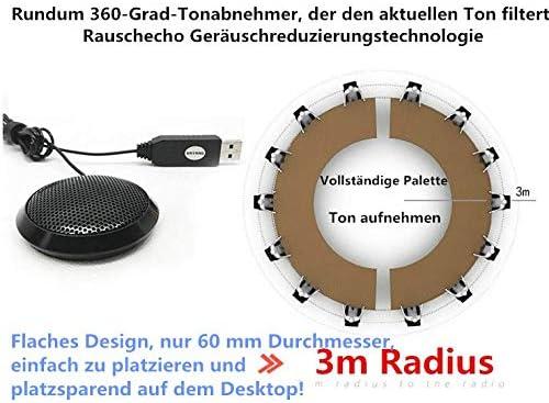 143 Desktop Microphone USB Conferencing Microphone High Sensitivity 360/° Sound Pickup Desktop Conference Mic