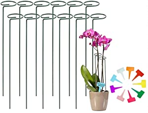 YEEPON 12 Pack 18 Inch Plant Support Stake for Tall Plant, Garden Single Stem Flower Support Stake Indoor Plant Cage Support Ring for Peony, Orchid, Lily, Rose+10 T-Shaped Plant Label (12)