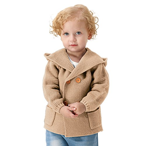 mimixiong Baby Boy Cardigan Sweater Cartoon Hoodies Long Sleeve Coats (12-18M,Brown)