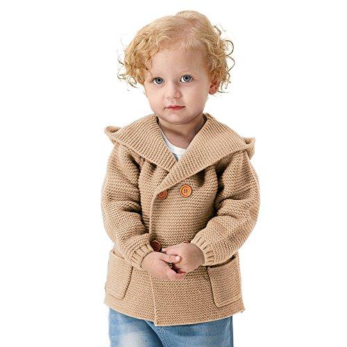 Boys Knit Cardigan (MiMiXiong Baby Boy Cardigan Sweater Cartoon Hoodies Long Sleeve Coats (18-24M, Browm))