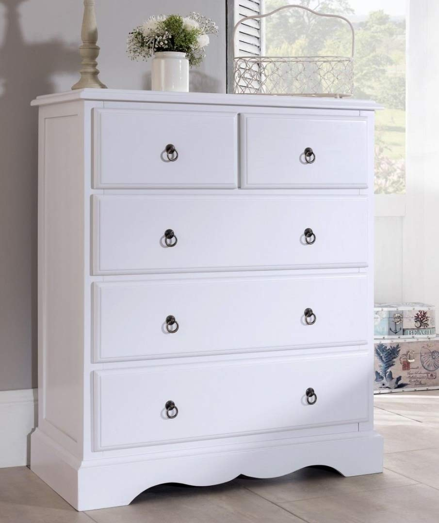 Large Antique White chest of drawers FULLY ASSEMBLED Romance 2 over 3 Chest of Drawers