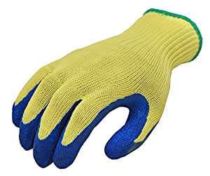 G & F 1607L Cut Resistant Work Gloves, 100-Percent Kevlar Knit Work Gloves, Heavy Weight Textured Blue Latex Coating, Large, 1 Pair