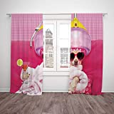 Best Warner Bros. In Babies - SCOCICI Satin Window Drapes Kitchen Curtains [ Funny,Chihuahua Review