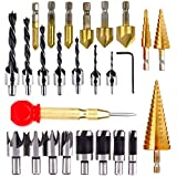 LAMPTOP 26pcs Woodworking Chamfer Drilling Tools including 6 Countersink Drill Bits, 7 Three Pointed Countersink Drill Bit with L-wrench, 8 Wood Plug cutter, 3 Step Drill Bit, and Automatic For Wood Drilling