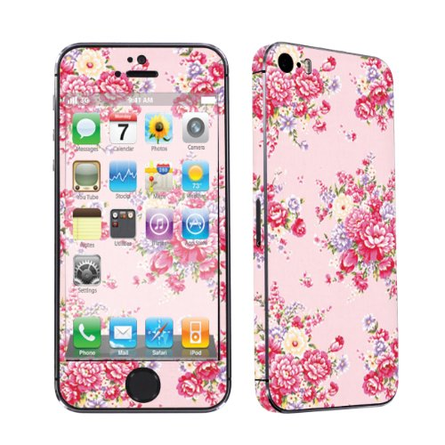 Apple iPhone 5S Full Body Vinyl Decal Protection Sticker Skin By SkinGuardz - Pink Floral