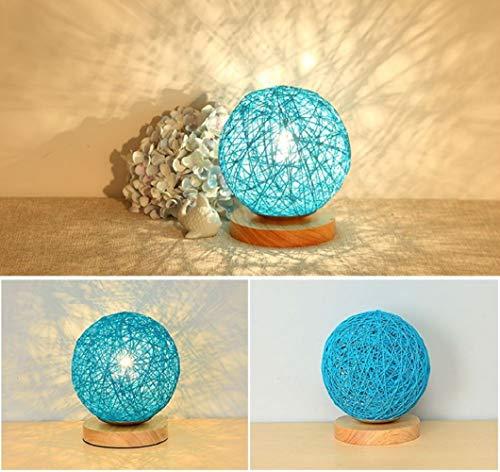 LANTU CREATIVE Ratten Table Lamp Ball Round Desk Light Bedside Lamp for Kids (Blue) (Lamps Table Creative)