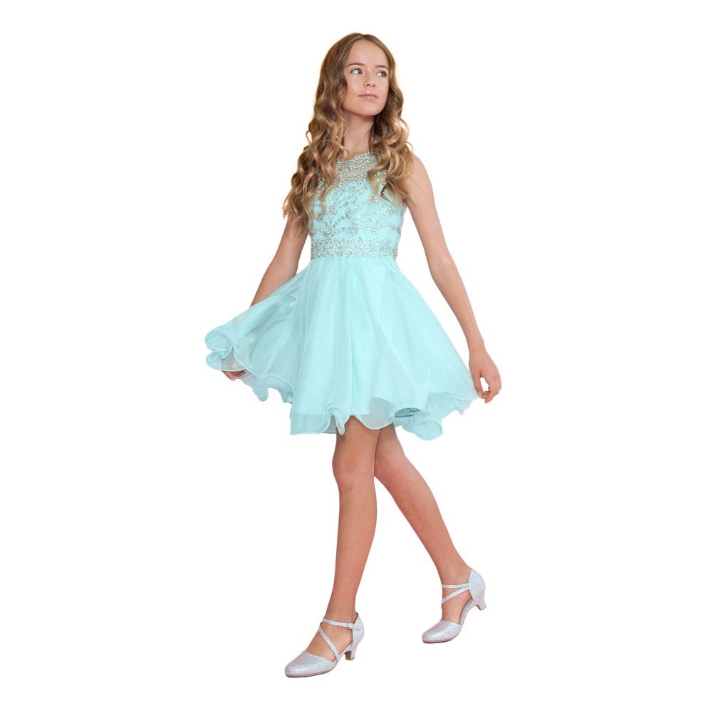 Calla Collection Big Girls Aqua Jewel Short Special Occasion Tween Dress 14