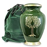 urns for adults - Tree of Life Classy Adult Green Urn For Human Ashes - Beautiful, Classic Green and Gold Large Urn Honors Your Loved One - Find Comfort and Peace With This Quality and Thoughtful Urn - with Velvet Bag