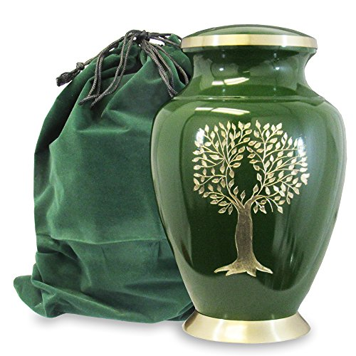 Tree of Life Classy Adult Green Urn For Human Ashes - Beautiful, Classic Green and Gold Large Urn Honors Your Loved One - Find Comfort and Peace With This Quality and Thoughtful Urn - with Velvet (Adult Urn)