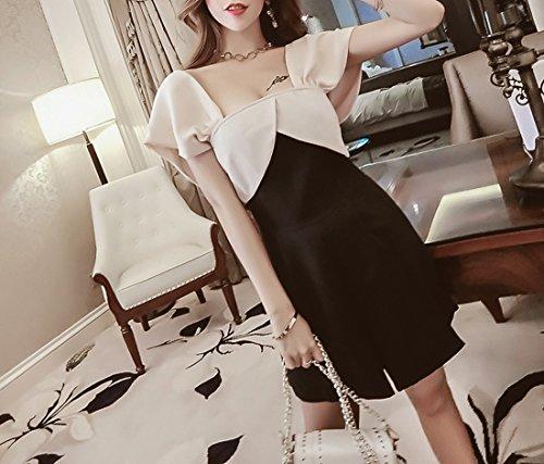 in Acvip da club donna nera cotone beige corto Elegante unica taglia party abito wq5n8I