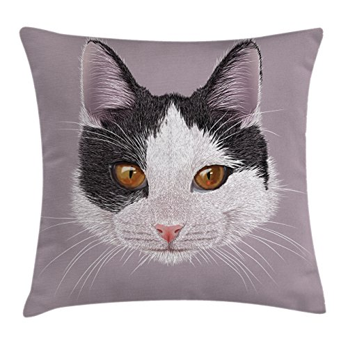 White Lilac Square - Ambesonne Animal Throw Pillow Cushion Cover, Cute Cat Kitty Portrait Young Domestic with Funny Whiskers Pet Humor Graphic, Decorative Square Accent Pillow Case, 18 X 18 inches, Lilac Black White