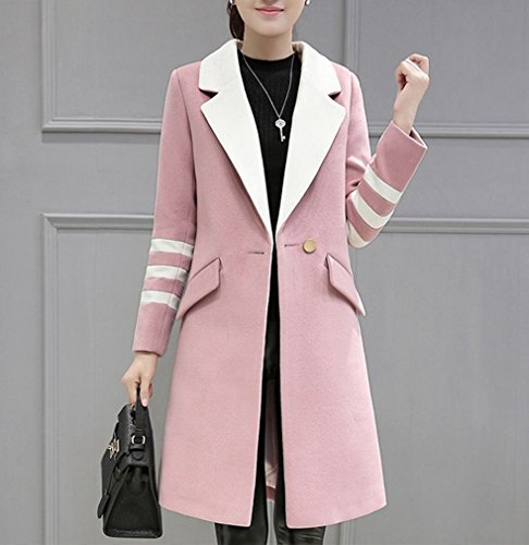 Coat the Size Fashion Women MIF Long Pink Autumn Coat and Slim Large Twist Was in Wave Thin Winter wFX4tF