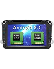 Android 8.1 Autoradio 8 Pulgadas 2 DIN Coche Estéreo con GPS Navegación con Bluetooth Control Volante para VW Soporte GPS, CD DVD, USB SD, FM Am RDS, WiFi, Apoyo Parking