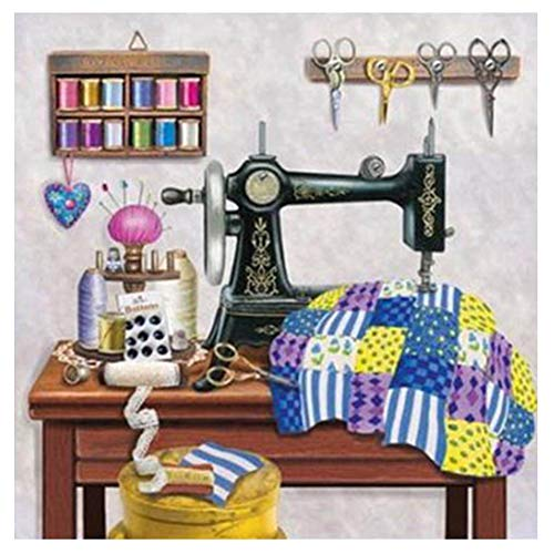 AkoMatial DIY Diamond Painting Kit Full Drill Sewing Machine Pattern Rhinestone Embroidery Wall Stickers with Embroidery Tools for Home Living Room Bedroom Decor 3030cm