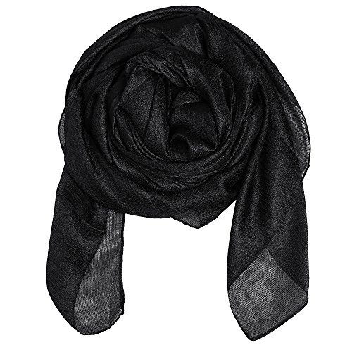 (QBSM Womens Black Sheer Large Soft Bridal Formal Evening Dress Scarf Shawl Wrap for Mother's Day)