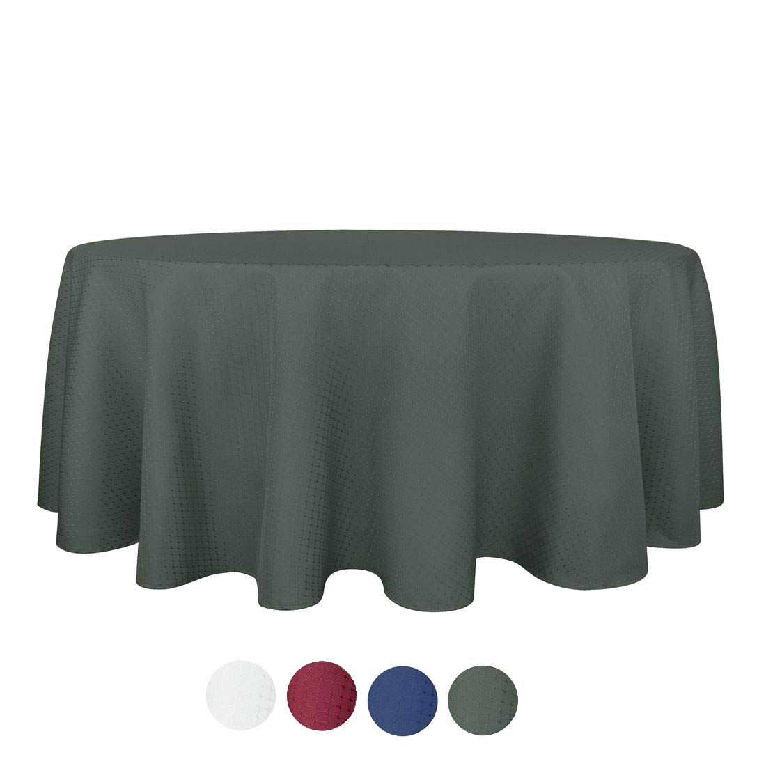 Anti-Water Mildew Free 100/% Polyester Table Cover Indoor for Home//Hotel Restaurant Round 70-inch for 6 Seats eforgift Dark Charcoal Waffle Weave Design Cloth Tablecloths Spill and Stain-Proof