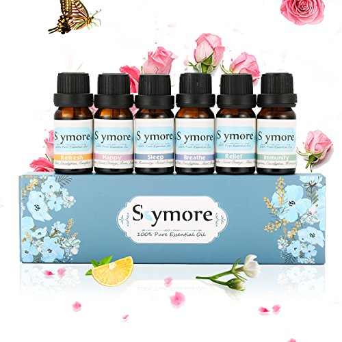 Skymore Top 6 Essential Oil Blend Gift Set, 100% Pure Aromatherapy Oils for Diffuser, Best Therapeutic Grade Essential Oil Kit - 6/10ml (Sleep, Breathe, Relief, Refresh, Immunity, Happy)