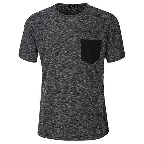 Men's Pure Color Unique Fabrics Modern Trend T Shirt (GU-102, Medium)