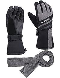 Men's Storm Touchscreen Winter Ski Gloves + Scarf Set, Pocket, Thinsulate, Waterproof