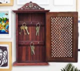 Best Present for Your Lovely Valentine, Handcrafted 13'' Wooden Key Box, Net Design Key Holder, Key Hanger, Wooden Key Rack for Wall, Wall Mounted Key Hooks, Brown Color