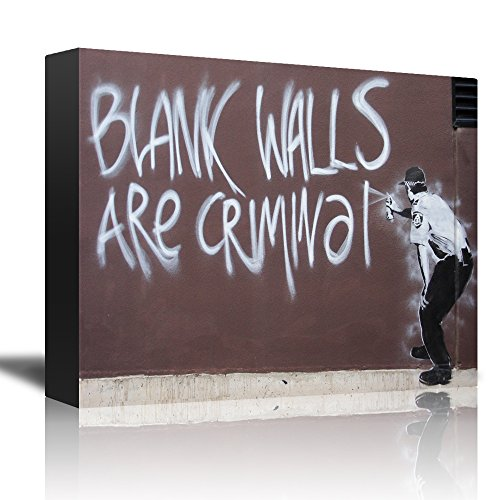 wall26 Blank Walls Are Criminal by Banksy - An Officer Spray Painting a Wall - Canvas Art Home Decor - 12x18 (Blank Splash)