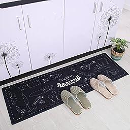 Carvapet 2 Piece Non-Slip Kitchen Mat Rubber Backing Doormat Runner Rug Set, Cozinha Design (Black 15\