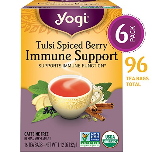 Yogi Tea - Tulsi Spiced Berry Immune Support - Supports Immune Function - 6 Pack, 96 Tea Bags - Support Energy Immune