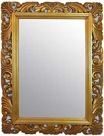 4ft X 3ft 122cmx92cm Large Gold Framed Hairdressors Salon Mirror Carved Solid Wood Frame Beautiful Antique Design Ornate Shabby Chic Over Mantle Big Wall Mirror 24 X 36 Mirror Glass Size Amazon Co Uk