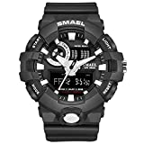 Watch Men for Sports Quartz Wristwatches Digital LED Watch Alarm Gold S Shock Clocks1642 Sport Watches Man Water Resistant,Black White