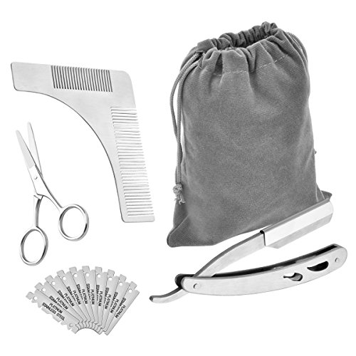 Beard Trimming Tool, Zoel Mustache Shaping Symmetric Kit for Men, Including Styling Comb Template+ Professional Manual Shaver+ Stainless Steel Scissors+ A Large Velvet Bag(Include10 Blades)