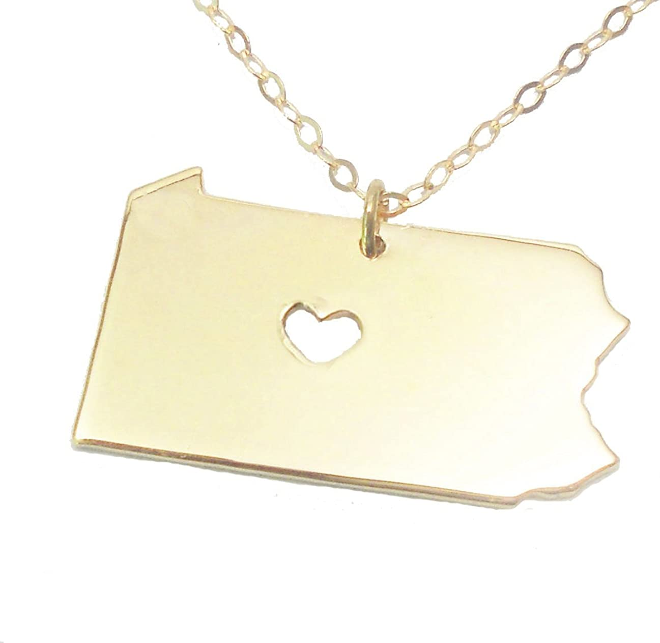 HACOOL 925 Sterling Silver Pennsylvania State Necklace with Hollow Out Heart Jewelry
