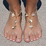 SunSandals Barefoot Sandals Foot Ankle Jewelry Anklets - Champagne Shell - Small