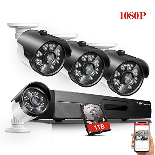Home Security Camera System 8 Channel 1080P DVR with 1TB Hard Drive