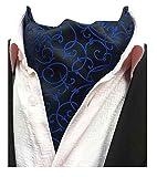 MENDENG Men's Black Paisley Jacquard Woven Silk Cravat Formal Self Tie Ascot