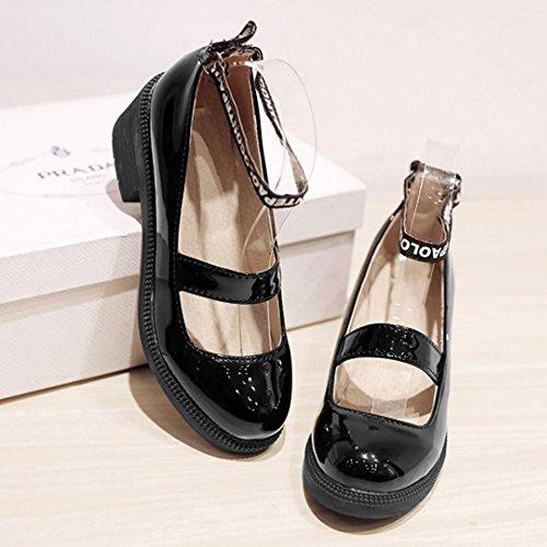 COOLCEPT Mujer Moda Boca Baja Zapatos Correa de Tobillo Bombas Mary Janes Zapatos Negro