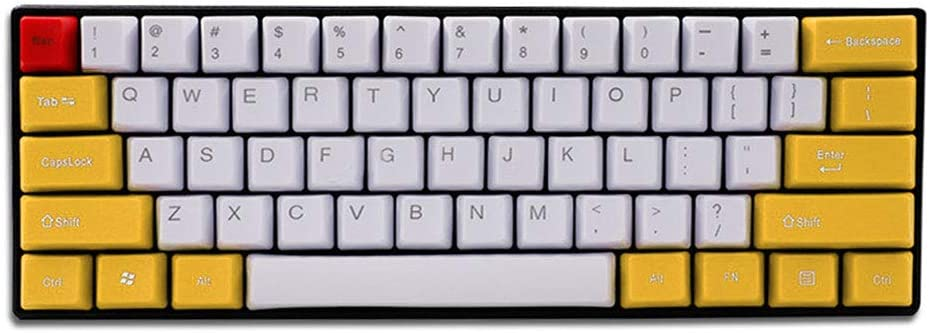 Keyboard keycaps Yellow Thick PBT Keycaps ANSI Layout Side Print for MX Switch Mechanical Keyboard Color : 61 Key