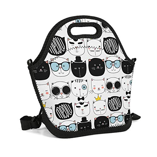 SHIWERJHC Back to School Sudokus Cute Cat Neoprene Lunch Tote Fashion Insulated Thermal Reusable Lunch Bag Box for Women Men Child School Work Outside Picnic ()