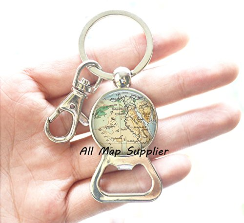 Charming Bottle Opener Keychain,Egypt map Bottle Opener Charm, Egypt Bottle Opener Keychain Resin Bottle Opener, Egypt map Jewelry, Egyptian Jewelry, Egypt map Bottle Opener Keychain, A0315 - Silver Key Egypt