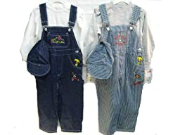Boys Sizes 4T Indigo Denim / Stripe Denim Embrodiery Overall 2-PC Set. 2 PACKS