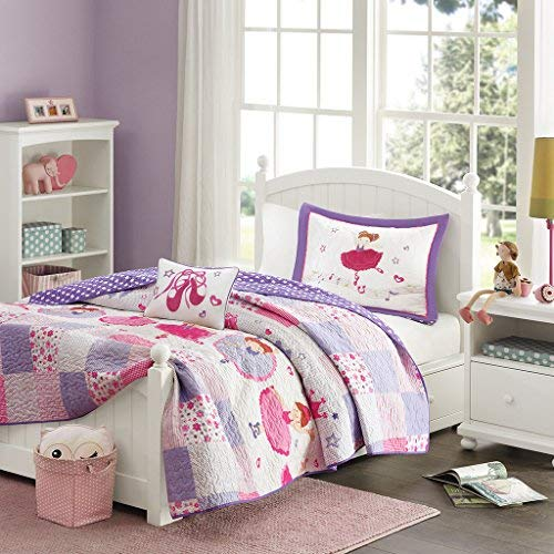 Mi Zone Kids Twirling Tutu Twin Bedding For Girls Quilt Set - Purple Pink , Princess – 3 Piece Kids Girls Quilts – Ultra Soft Microfiber Quilt Sets Coverlet (Quilts Childrens Bedding)