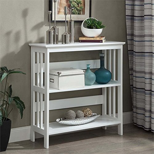 Glass Mission End Table (Convenience Concepts Mission 3-Tier Bookcase, White)