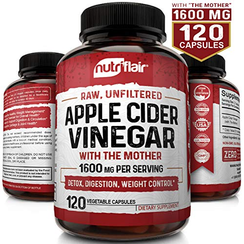 Apple Cider Vinegar Capsules with Mother 1600mg - 120 Vegan ACV Pills - Best Supplement for Healthy Weight Loss, Diet, Keto, Digestion, Detox, Immune - Powerful Cleanser & Appetite Suppressant Non-GMO (Apple Cider Vinegar Pills With The Mother)